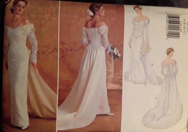 Butterick 4288 Wedding Bridal Dress Gown Off Shoulder Sewing Pattern Uncut Ff
