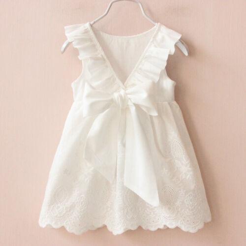 Kid Girl Backless Summer Dress Back Ribbon Bow Dresses Children Clothing Garment