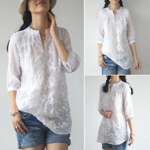 ZANZEA-Womens-Summer-Floral-Embroidered-Top-Tee-T-Shirt-V-Neck-Plus-Size-Blouse