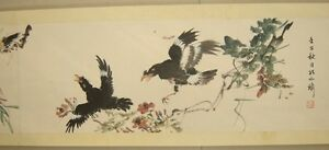 Chinese-Hand-Scroll-Painting-034-Birds-And-Flowers-034-By-Kong-Xiaoyu