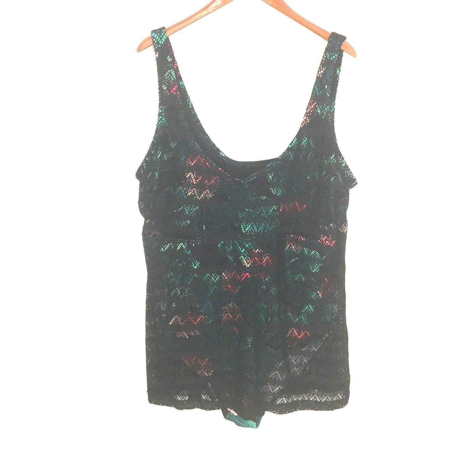 JCPenney Boutique Plus One Piece Swimsuit Lace Overlay Tropical Print 3X New