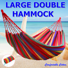huge double cotton fabric hammock air chair hanging swinging camping outdoor tropicana hammocks portable 1 double hammock carry bag 200kg      rh   ebay   au
