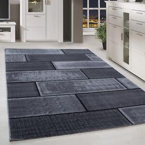 Details zu Moderner Design Stein Mauer Teppich Kurzflor Wohnzimmer Schwarz  Grau meliert