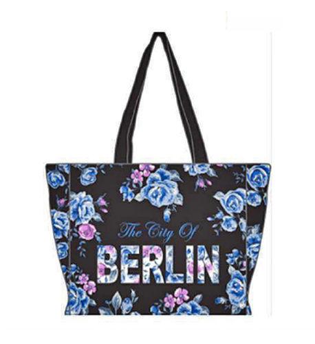 ROBIN RUTH City Shopper Tasche Berlin Flowers NEU Schwarz Blau Städtetasche Rose