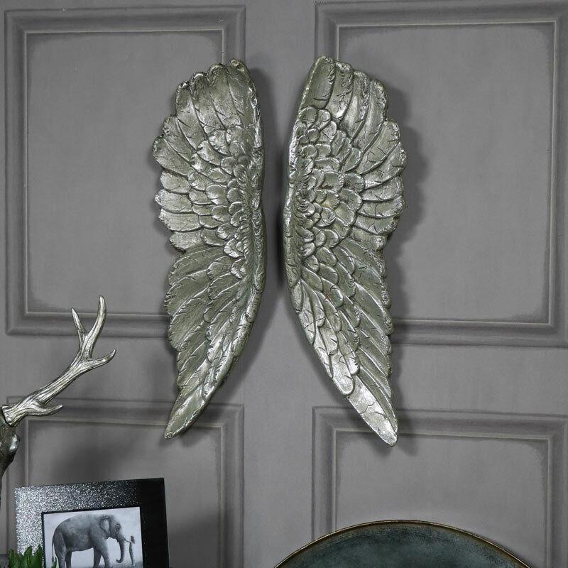 Paar von Groß Silber VerGoldete Engel Flügel Vintage Stil Wandkunst