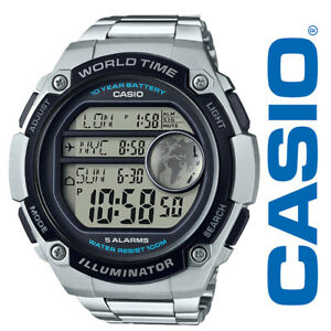850dace71 Casio AE3000WD-1AV Men's Stainless Steel 5 Alarms World Time ...