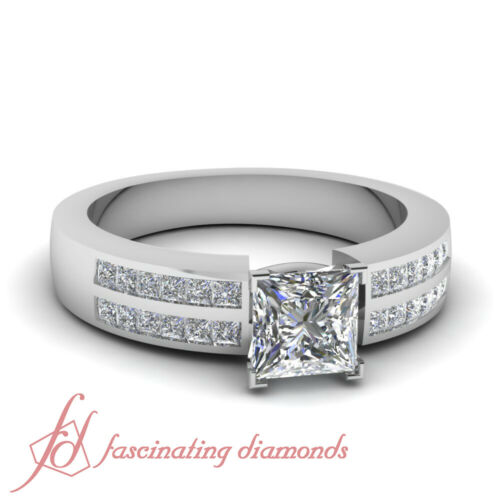 .81 TCW. Princess Cut SI2F Color Diamond Double Row Channel Set Engagement Ring