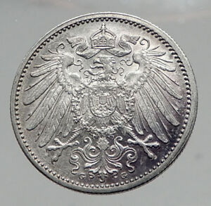 1915 WILHELM II of GERMANY 1 Mark Antique German Empire Silver Coin Eagle i64590