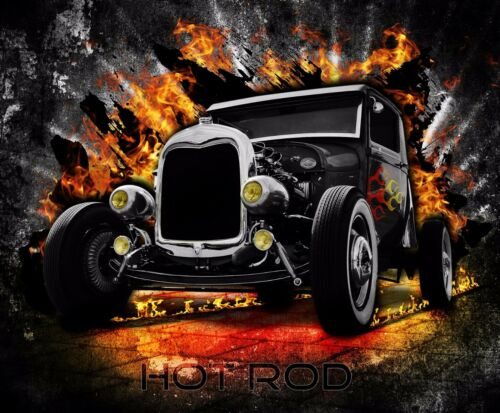 also available as A4 glossy print HOT ROD CAR counted cross stitch chart