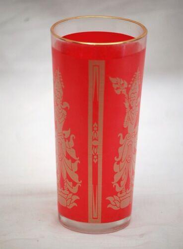 Vintage Culver Flared Asian Thai Glass Highball Ice Tea Tumbler Red Gold Barware