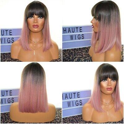 Ombre Straight Womens Wig Bob Pink Rose Gold Fringe Bangs Wigs Human Hair Short Ebay