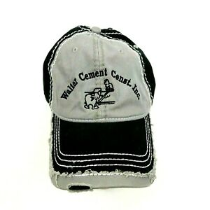 Walter Cement Construction Work Hat Cap Strapback One Size Gray Black Distressed