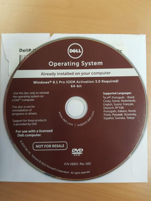 Windows 8.1 Pro 64 bit - OEM Activation- Key integriert DELL Reinstallation DVD