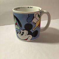 Disney Store XL Mug Cocoa Coffee Cup w Mickey Minnie Donald Goofy Pluto Sayings