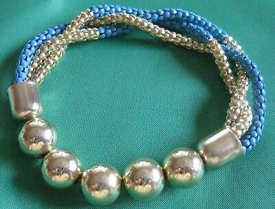 Armband Blau Gold, Stretch-armband ***neu***