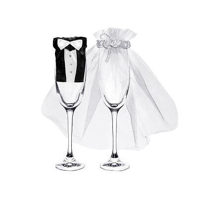 1 Set - Glaskleider für Sektgläser - Braut und Bräutigam - Hochzeit