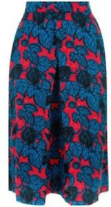 Monsoon-Estella-Skirt-Red-Blue-Floral-Uk-16-A-Line-Bnwt