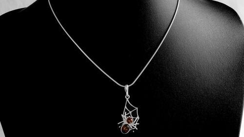 Kettenanhänger 100/% Bernstein Spinnennetz 925 Silber #1648