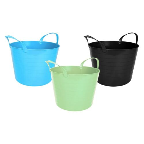 2 x 14L Flexi Plastic Large Tub Storage Twin Handle Bucket Building Material