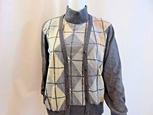 Escada Gray Cashmere Blend Diamond Shape Twin Turtleneck Sweater Set