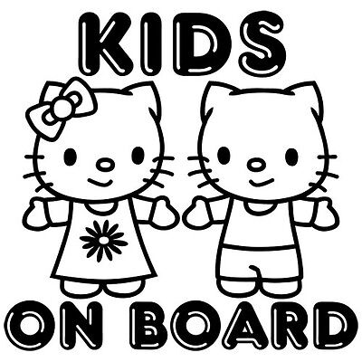 KIDS ON BOARD BABY BOY GIRL HELLO KITTY CAR WINDOW VINYL DECAL STICKER (BB-3)