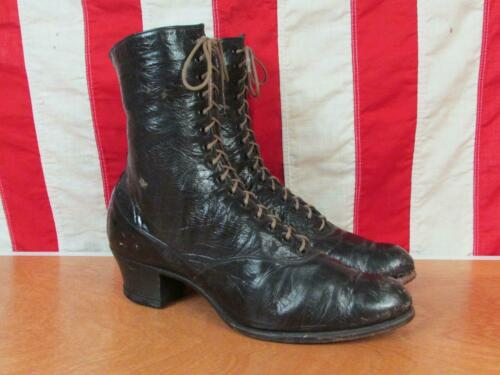 Vintage 1920s WB Coon Co.Black Leather Womens Vict