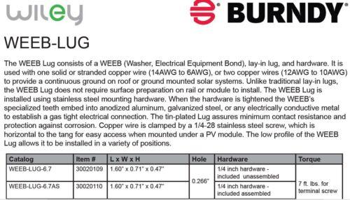 WEEB-LUG-6.7 PN:30020110-FREE SHIPPING! QTY WILEY SOLAR RAIL GROUNDING LUG 5