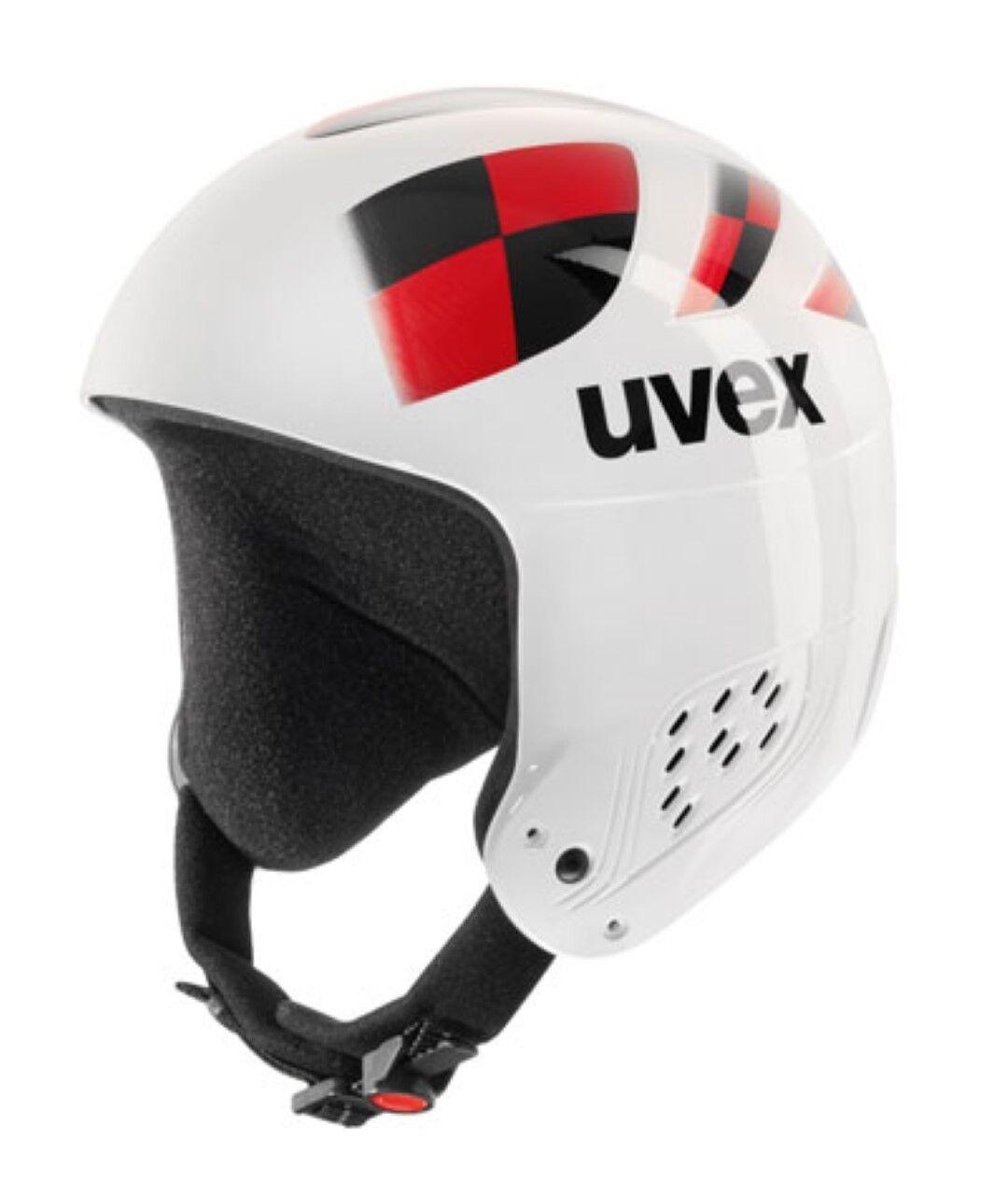 Uvex Kinder Skihelm jump Weiß Weiß Weiß XS 53-54cm Helm renntauglich Option für Kinnbügel 4a8385
