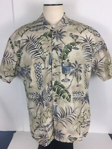 Pierre-Cardin-Mens-Casual-Hawaiian-Tropical-Camp-S-S-Cotton-Shirt-Large-in-VGC