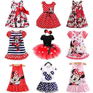 Infantil-Ninas-Dibujos-Minnie-Mouse-Verano-Vestido-Princesa-Fiesta-Casual-de