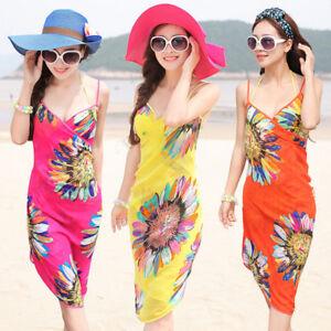 56547d70fb6c Detalles de Cn _ Mujer Gasa Floral Bikini Vestido Pareo de Playa Baño  Trajes Bañador Sa
