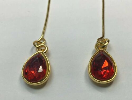 Bright Red Glass Rhinestone Repro Earrings Fits All Madame Alexander Dolls #08