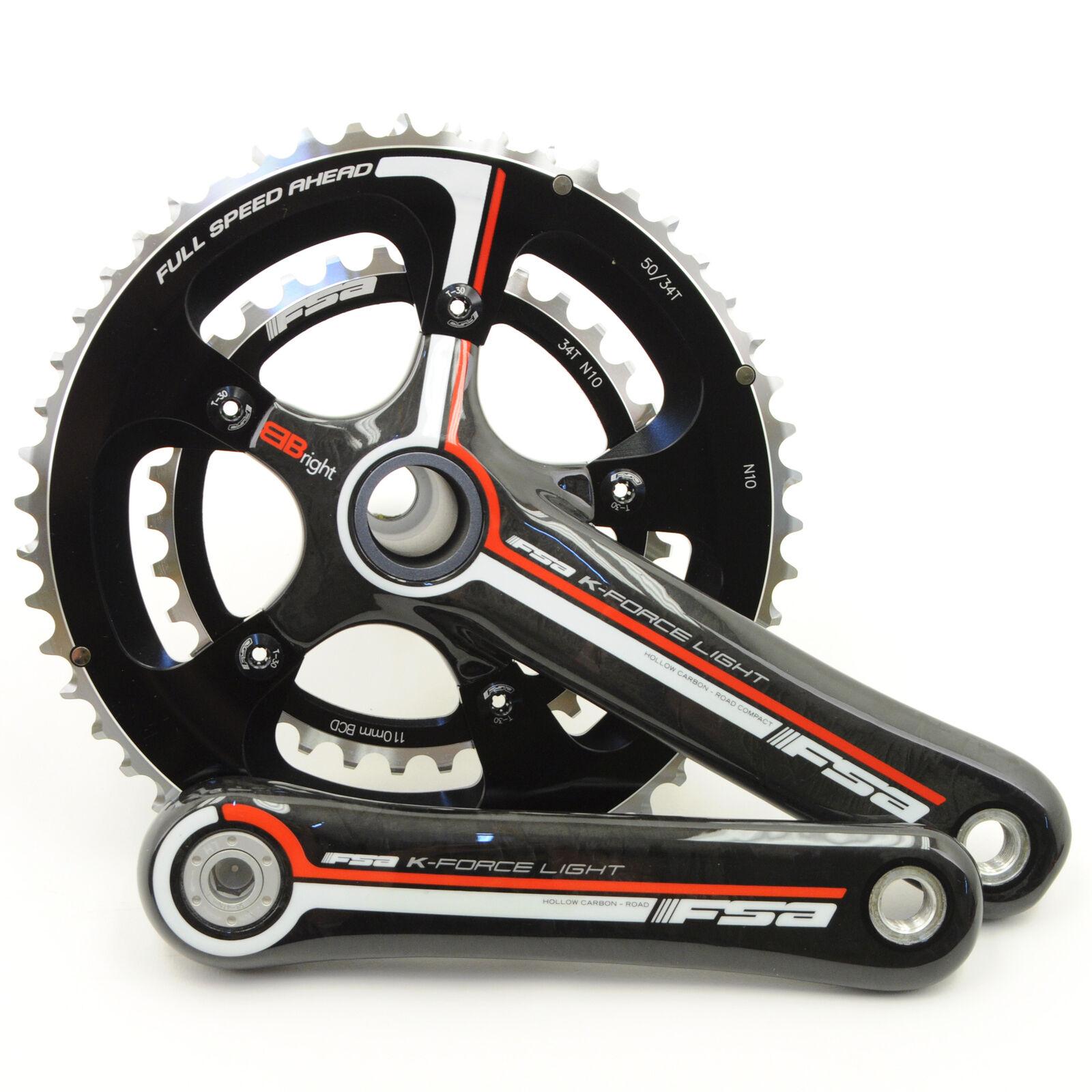 FSA K-Force Light BBright Carbon Road Bike Crankset 50//34 10 Speed 172.5mm//Black