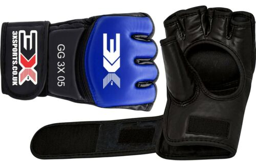MMA Grappling gloves,3X SPORTS// Muay Thai Leather Boxing Training Martial Arts