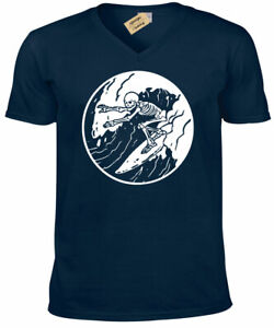 Surfing-Skeleton-T-Shirt-mens-surfer-skull-board-beach-wave-holiday-V-Neck-tee
