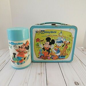 Vintage Walt Disney World Lunchbox and Thermos Mickey Aladdin *READ*