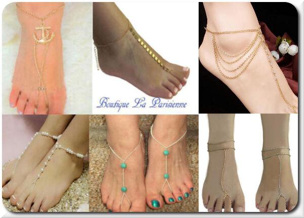 1 Fußkette Fußkettchen Fußschmuck Knöchel Fuß Schmuck Metall 16 Modelle Türkis