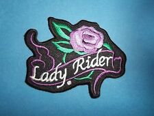 LADY RIDER PURPLE ROSE  SEW OR IRON ON  PATCH