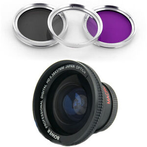 Bower 37mm 0.38x Wide Angle Lens + CPL-UV-FLD Filter for Sony HDR-CX12E,CX7,HC1