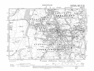 Old Map of Amblecote Stourbridge Wollaston Staffs in 1904 Repro