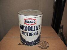 Vintage TEXACO HAVOLINE motor oil cardboard can quart garage display SAE 10W  HD