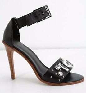 fb668927d38 Details about TIBI Womens Black Leather Crystal Embellished Open-Toe Ankle-Strap  Pumps 8 38