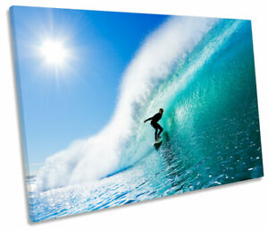 Crashing Wave Surfing Sunset Seascape SINGLE CANVAS WALL ART Picture Print