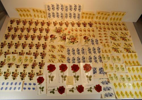 Colección 250 schiebebilder estampado rosas amarillo rojo azul decorar quemar
