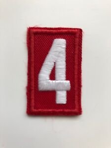 Boy Scouts of America BSA Red White Patch Troop Number # 4 Shoulder Embroidered