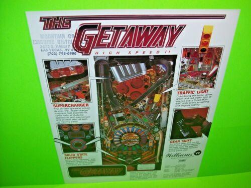 The GETAWAY High Speed II  Pinball Machine Flyer Original NOS 1992 NM WILLIAMS