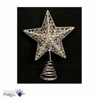 Gisela Graham Traditional Christmas Silver Xmas Wire Star Tree Topper Decoration