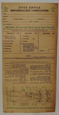 """1937 CHRYSLER 6 /& 8 CYL. ROYAL /& IMPERIAL /""""CITIES SERVICE/"""" LUBRICATION RECORD"""