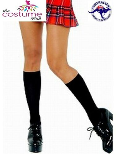 Black Knee High Socks Stockings Fancy Dress Up Costume