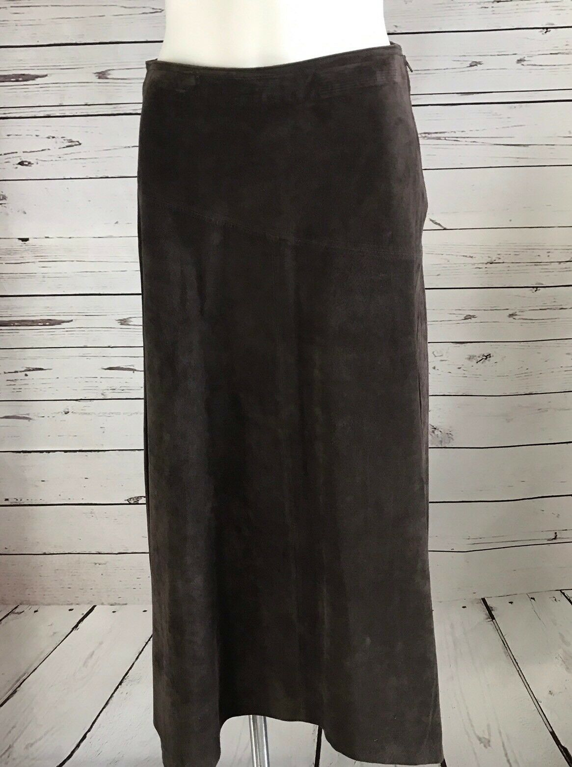 Provence d'amour Woman's Leather Skirt SIZE 8 A Line Zig Zag Hem Brown NWT  188